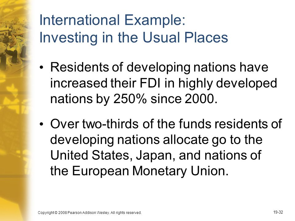 International Example: Investing in the Usual Places