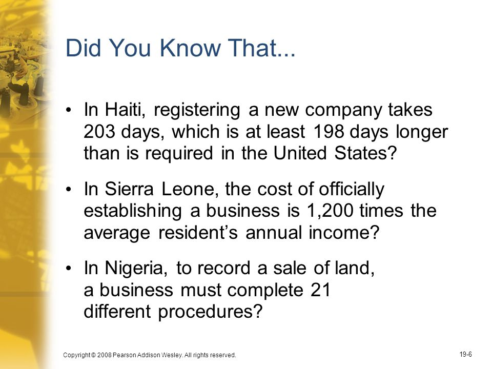 Did You Know That... In Haiti, registering a new company takes 203 days, which is at least 198 days longer than is required in the United States