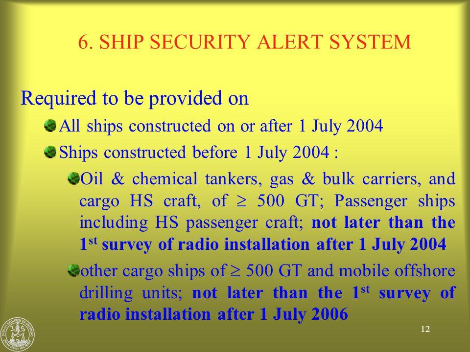 6. SHIP SECURITY ALERT SYSTEM