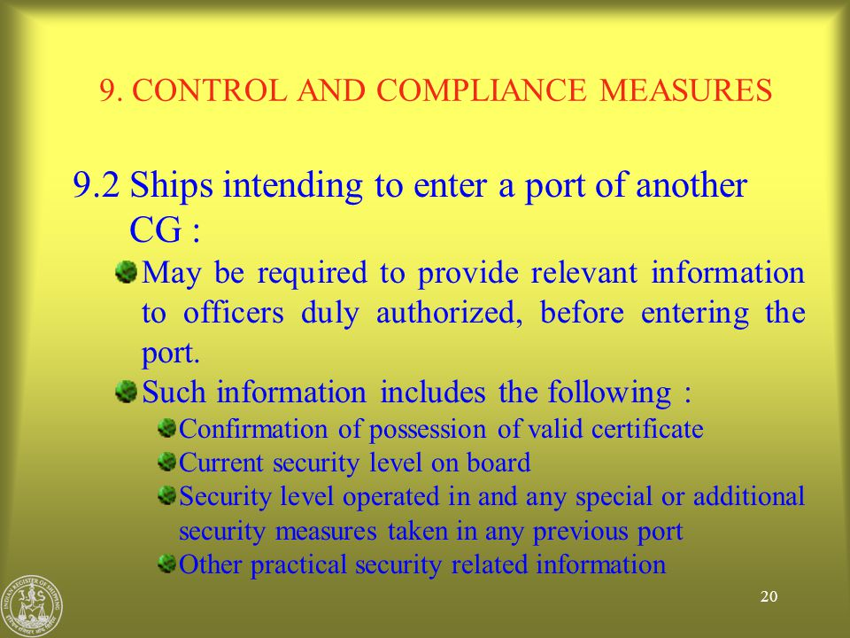 9. CONTROL AND COMPLIANCE MEASURES
