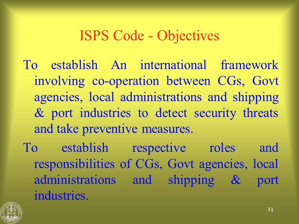 ISPS Code - Objectives