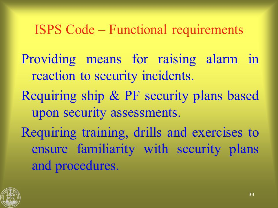 ISPS Code – Functional requirements