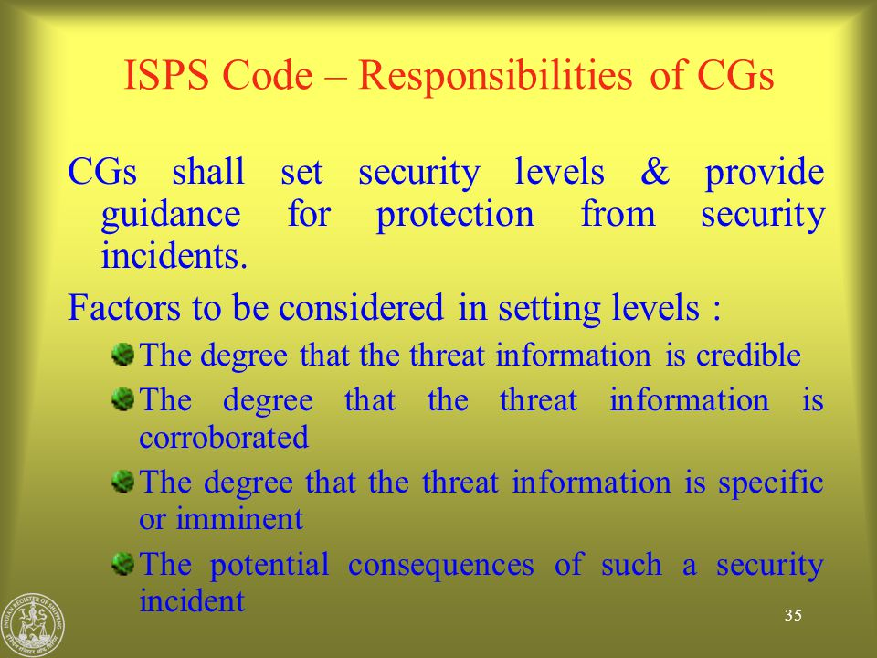 ISPS Code – Responsibilities of CGs