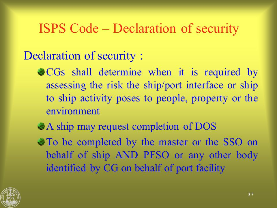 ISPS Code – Declaration of security