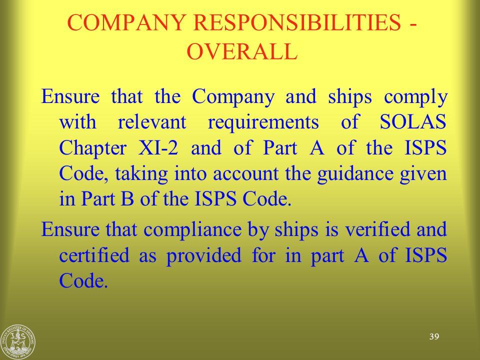 COMPANY RESPONSIBILITIES - OVERALL