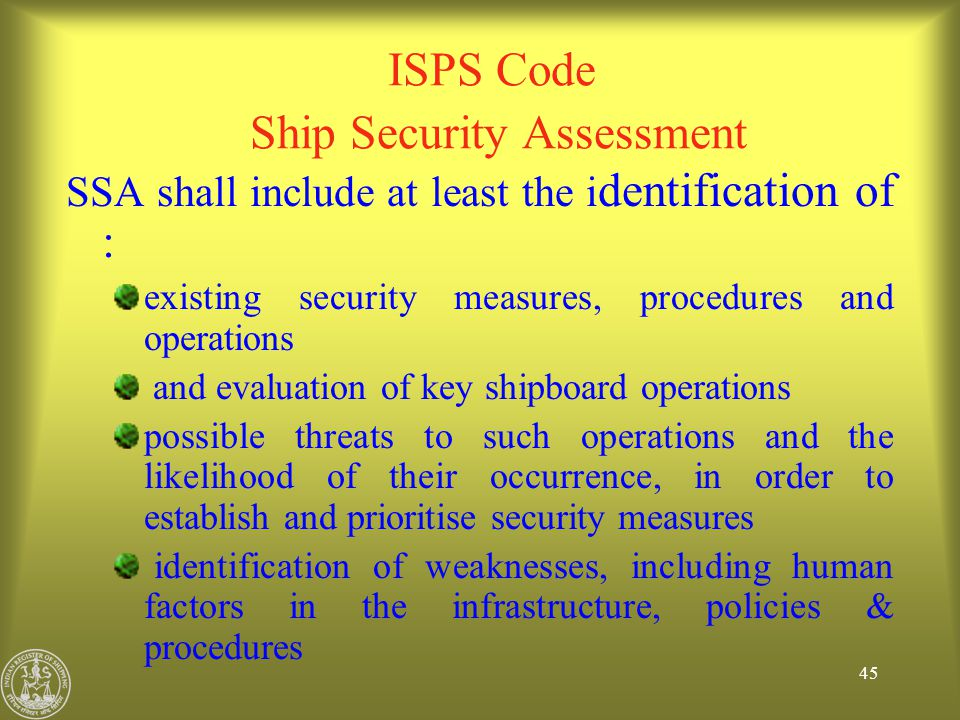 ISPS Code Ship Security Assessment