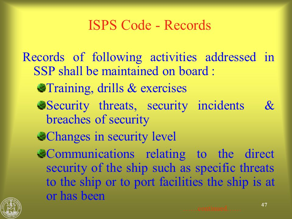 ISPS Code - Records Records of following activities addressed in SSP shall be maintained on board :