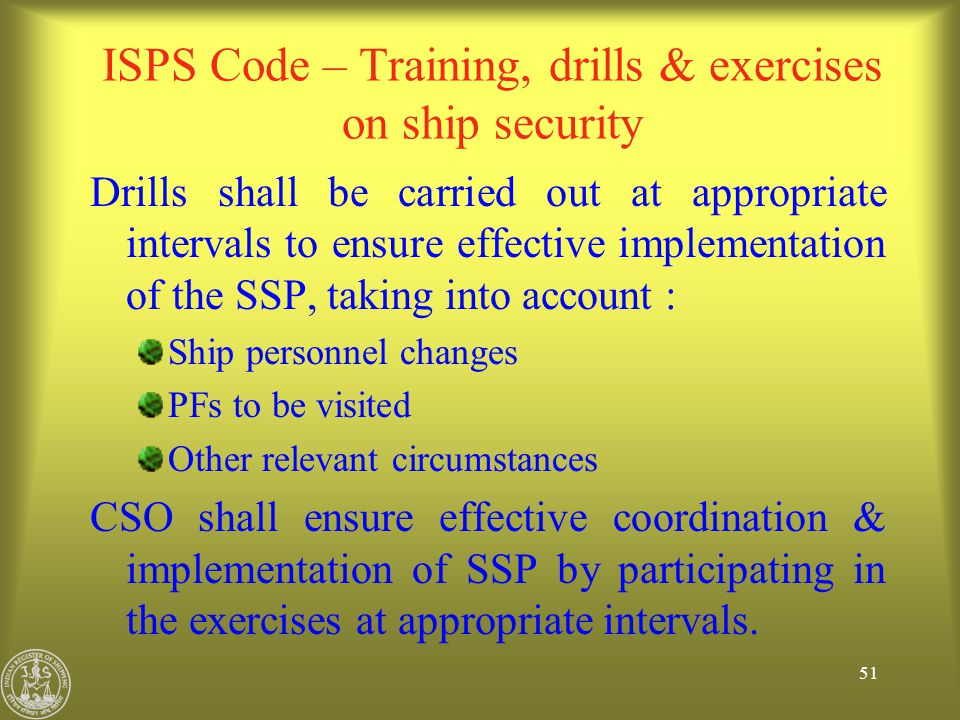 ISPS Code – Training, drills & exercises on ship security