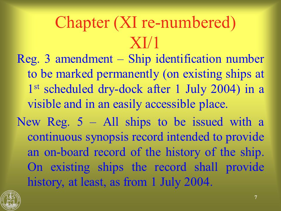 Chapter (XI re-numbered) XI/1