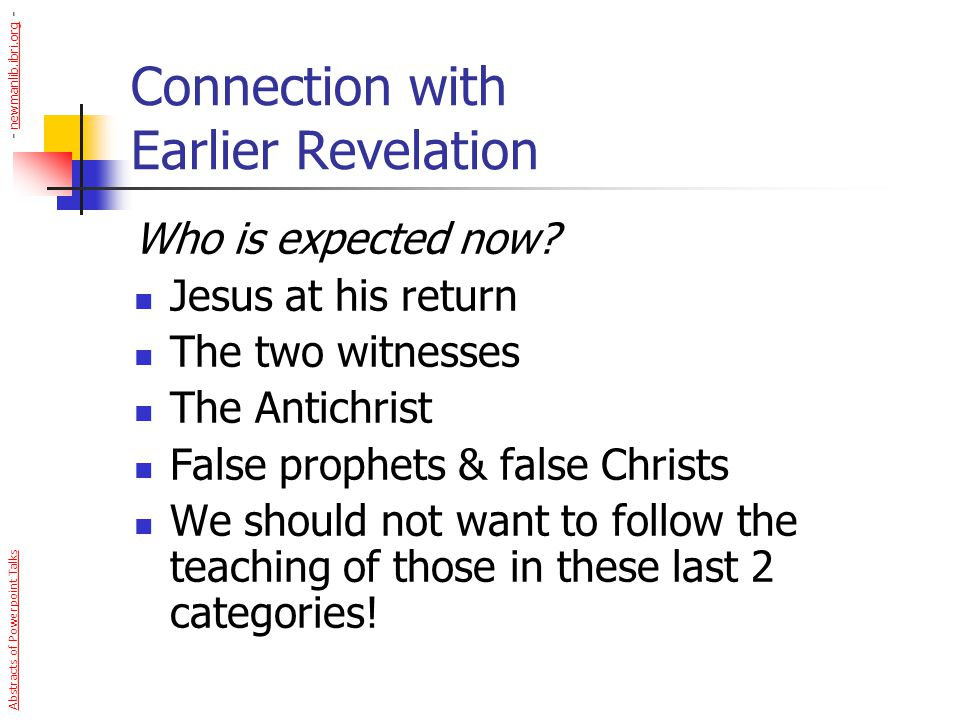 Connection with Earlier Revelation