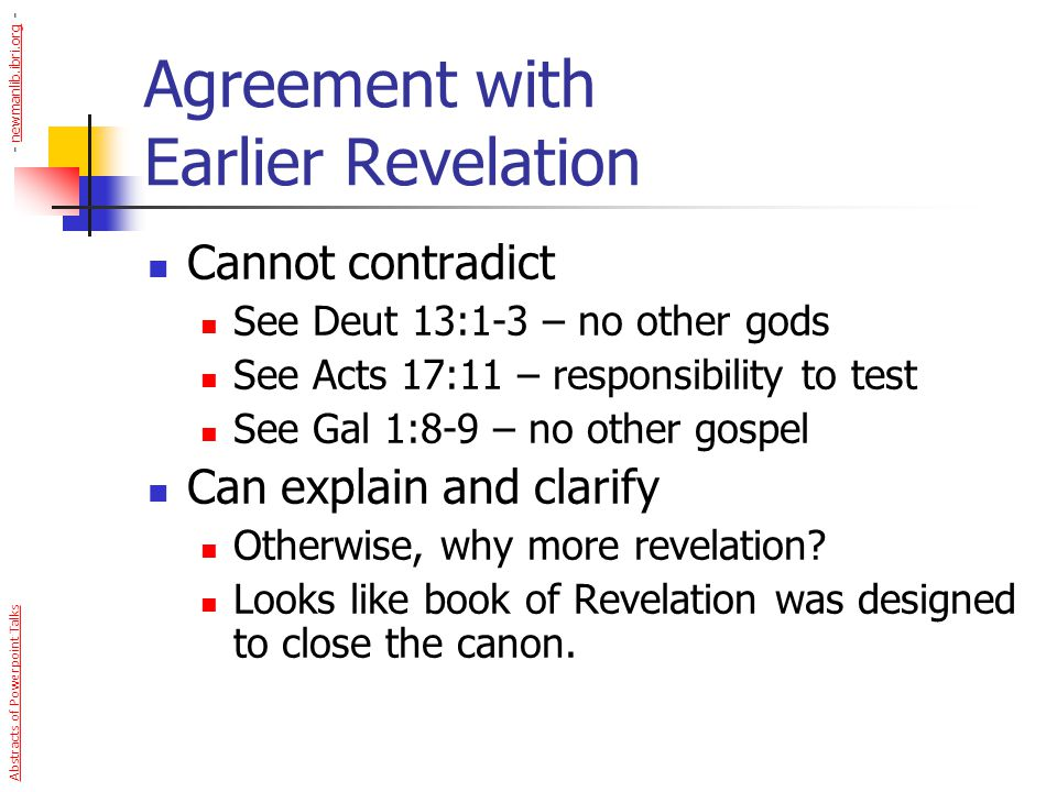 Agreement with Earlier Revelation