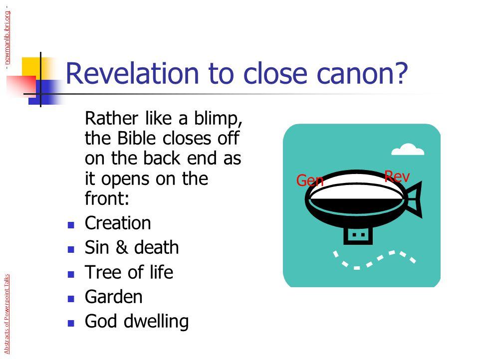 Revelation to close canon