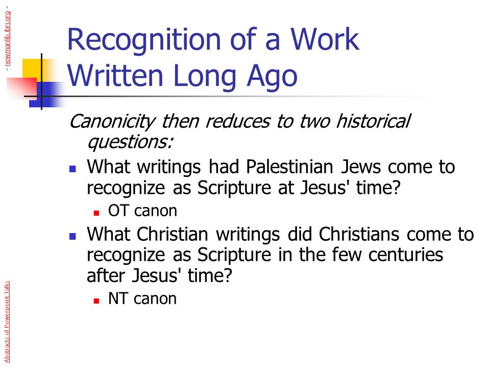 Recognition of a Work Written Long Ago