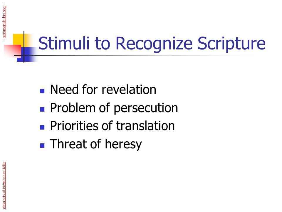 Stimuli to Recognize Scripture