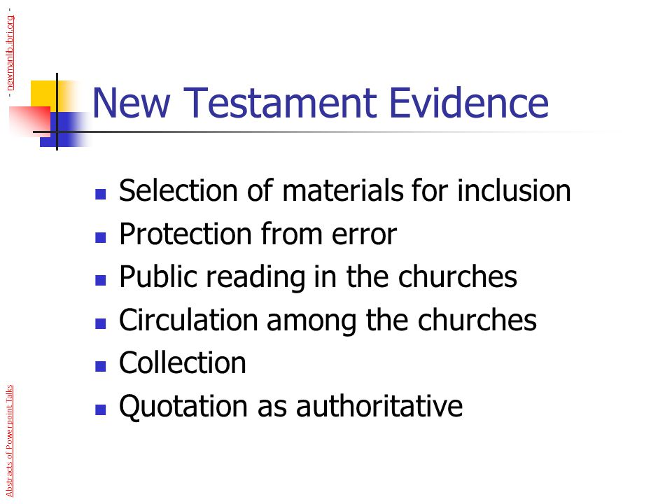 New Testament Evidence