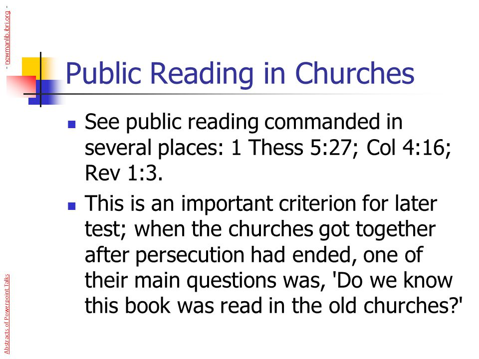 Public Reading in Churches