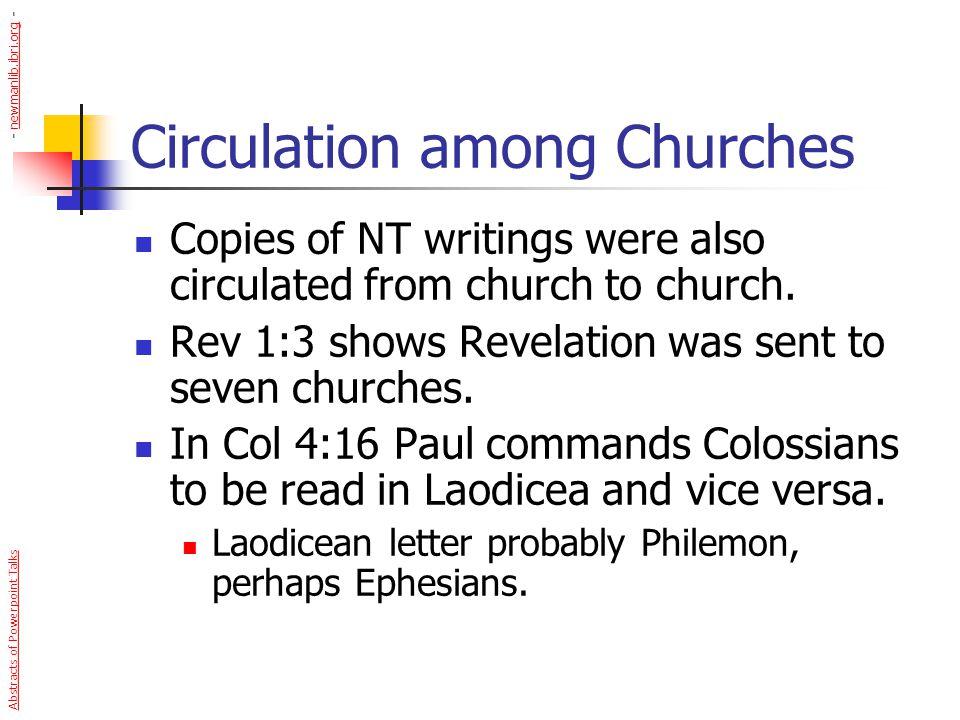Circulation among Churches