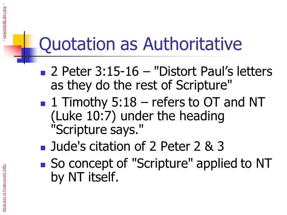 Quotation as Authoritative