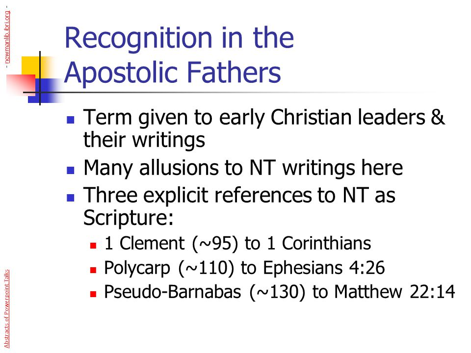 Recognition in the Apostolic Fathers