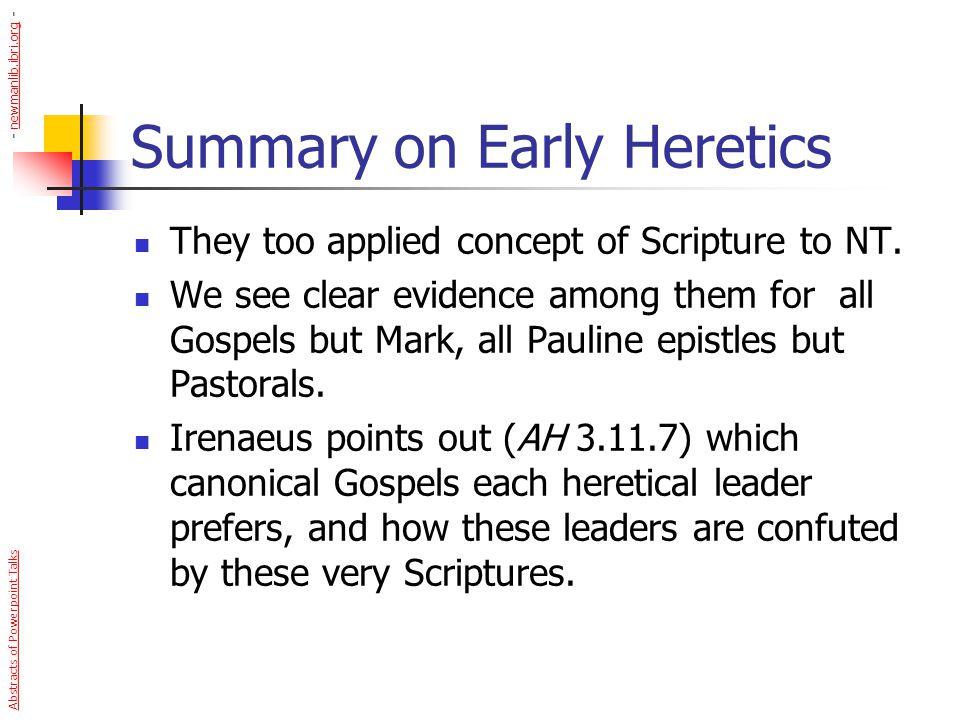 Summary on Early Heretics