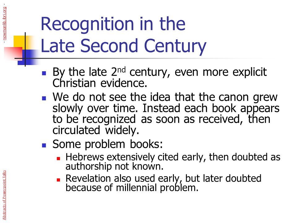 Recognition in the Late Second Century