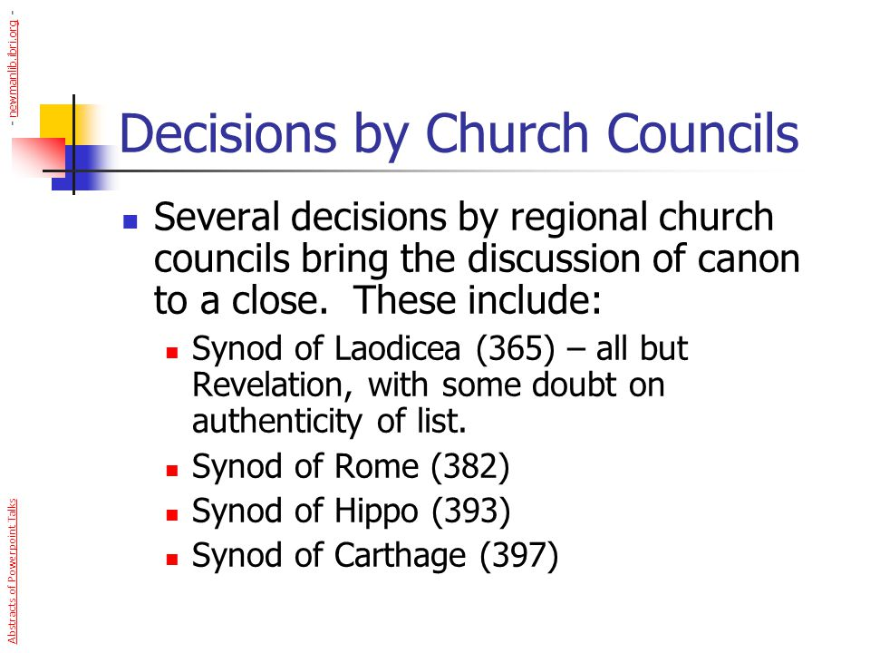Decisions by Church Councils