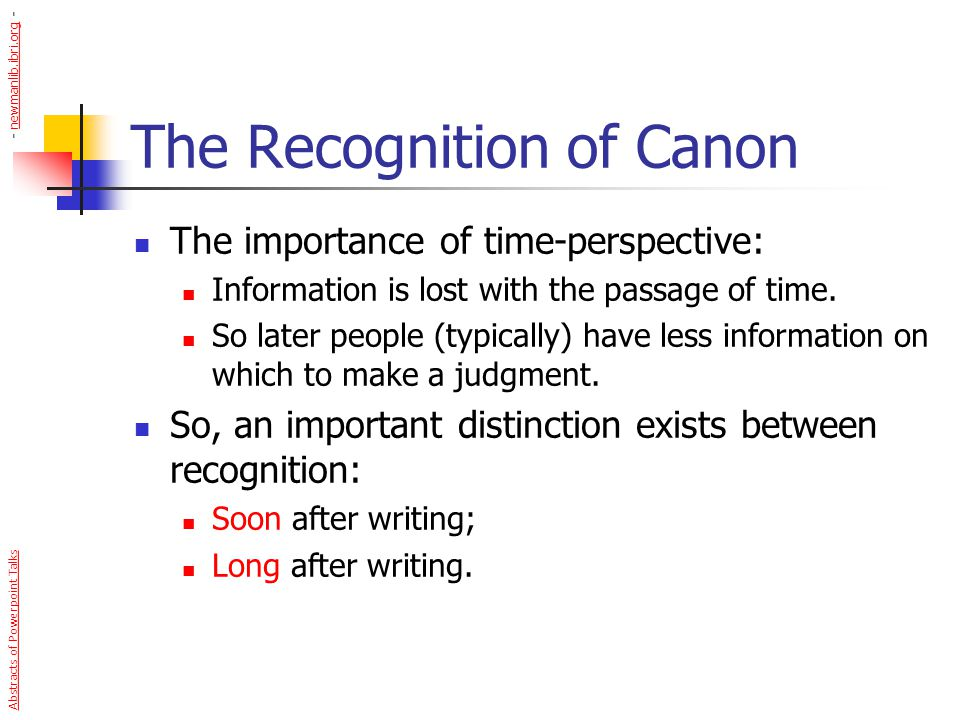 The Recognition of Canon