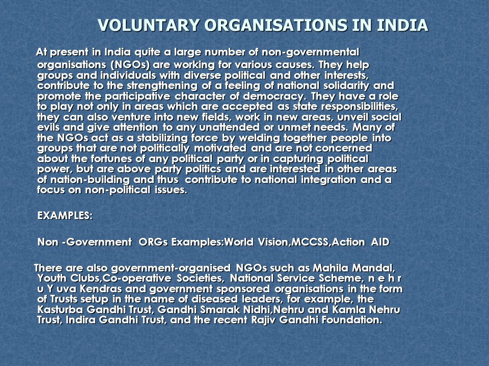 VOLUNTARY ORGANISATIONS IN INDIA