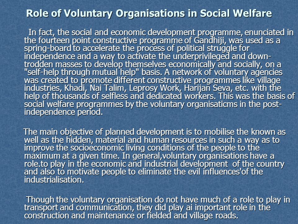 Role of Voluntary Organisations in Social Welfare