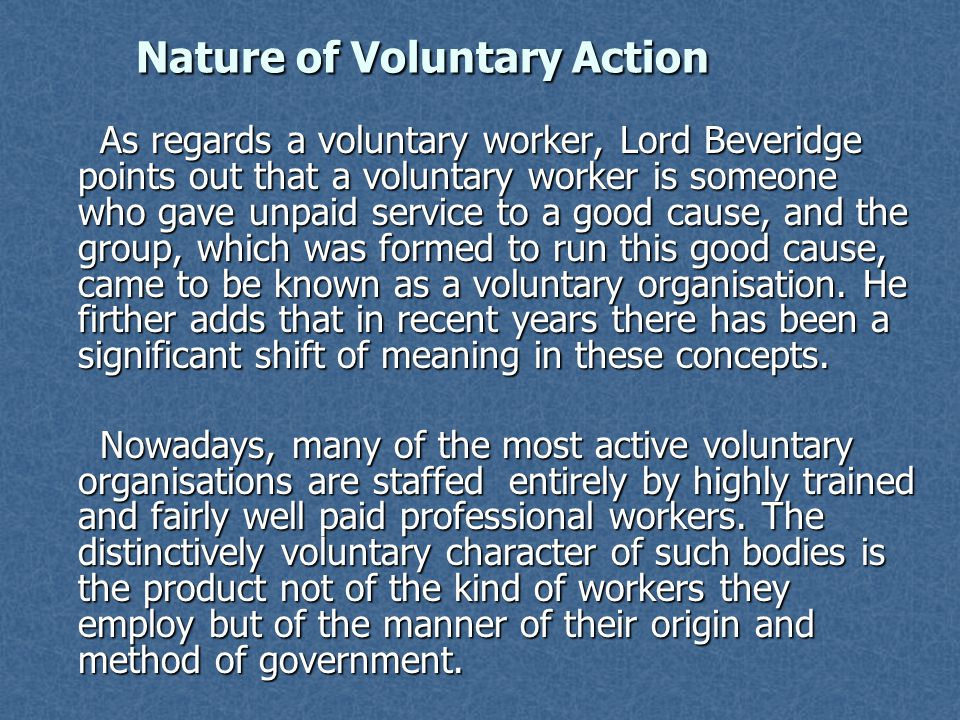 Nature of Voluntary Action