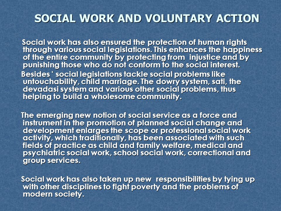 SOCIAL WORK AND VOLUNTARY ACTION