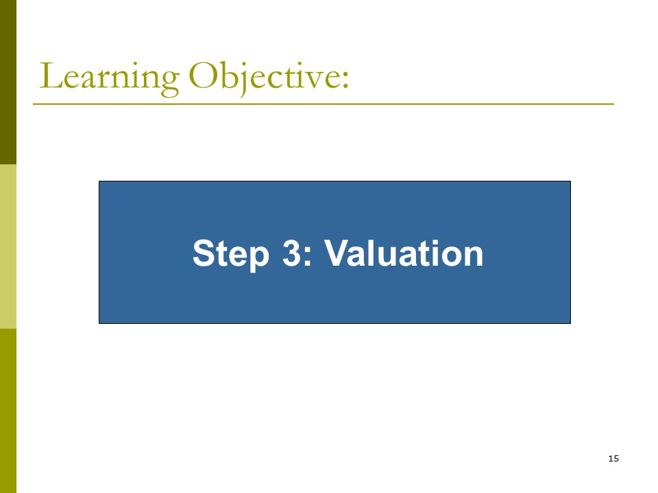 Learning Objective: Step 3: Valuation