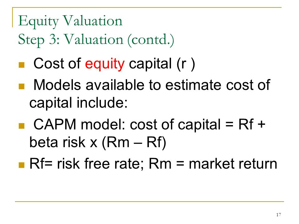 Equity Valuation Step 3: Valuation (contd.)