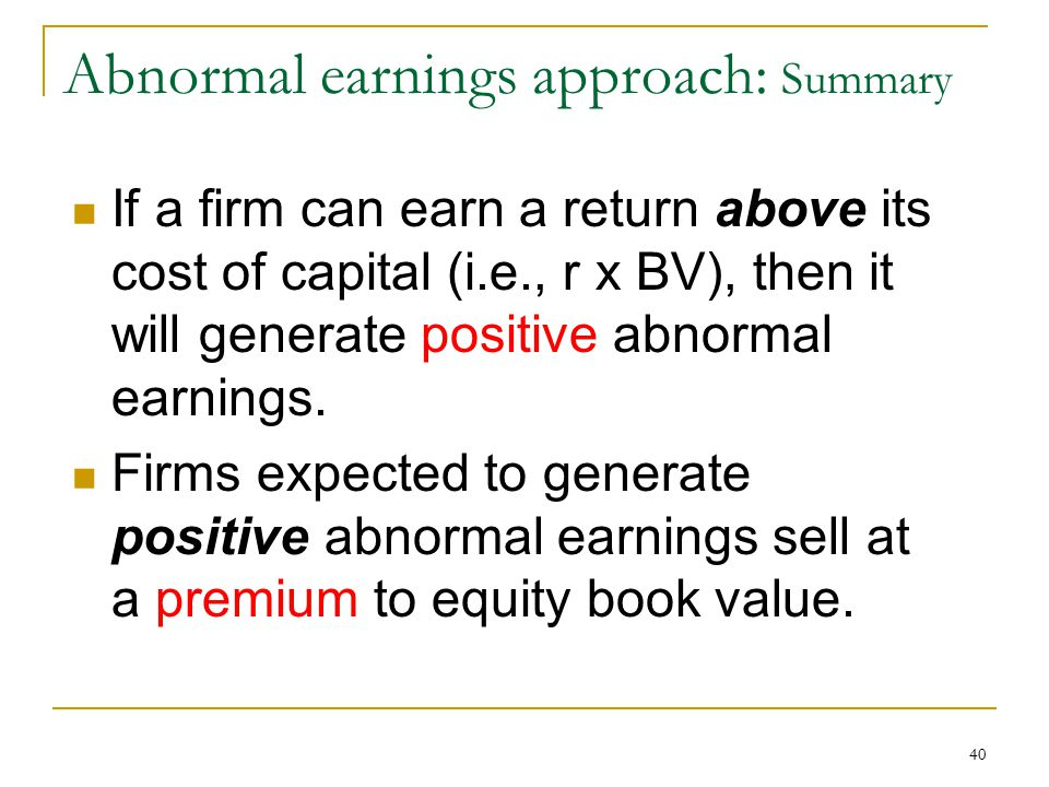 Abnormal earnings approach: Summary