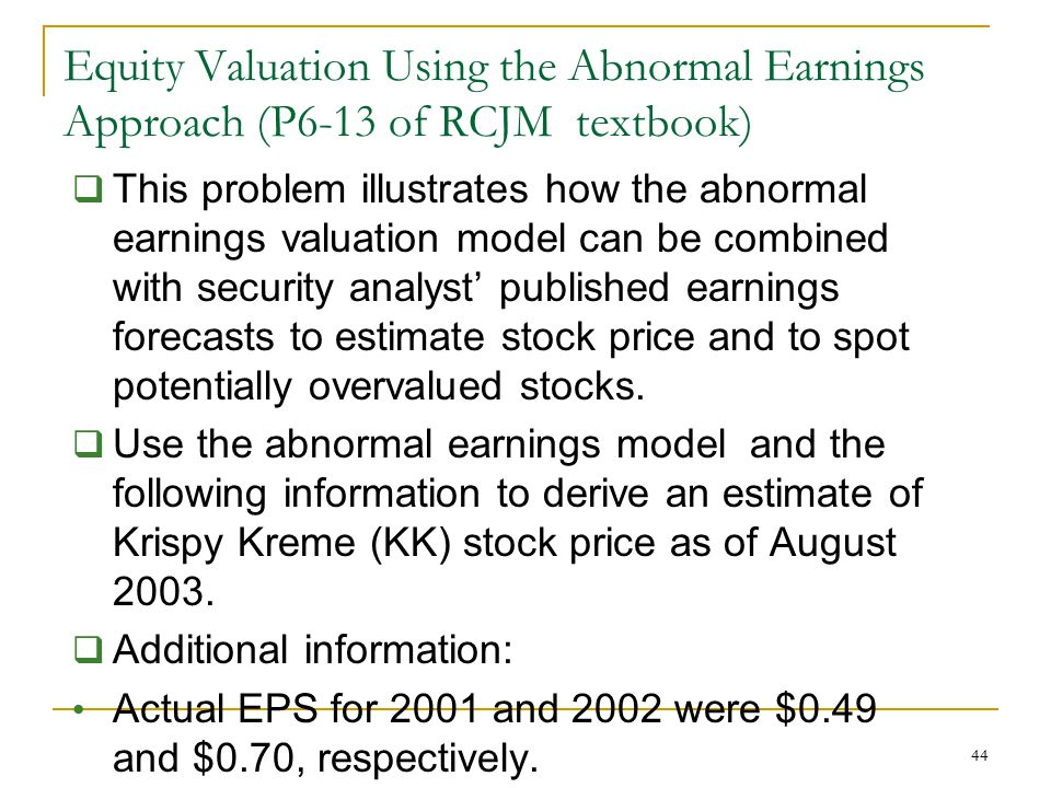 Equity Valuation Using the Abnormal Earnings Approach (P6-13 of RCJM textbook)