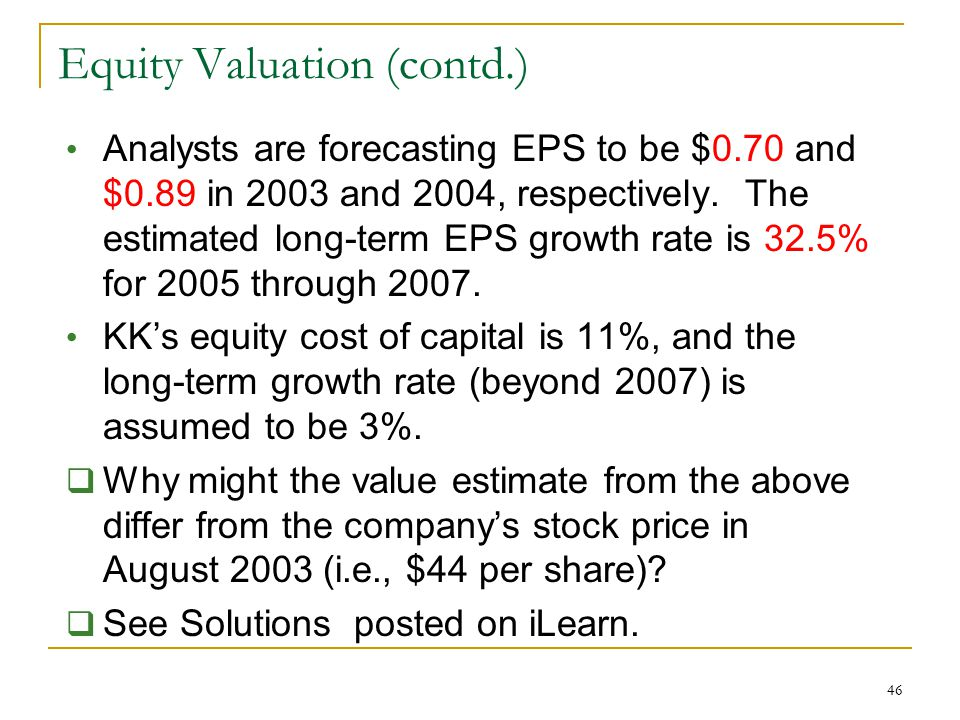 Equity Valuation (contd.)