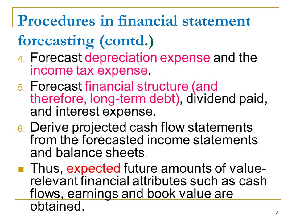 Procedures in financial statement forecasting (contd.)