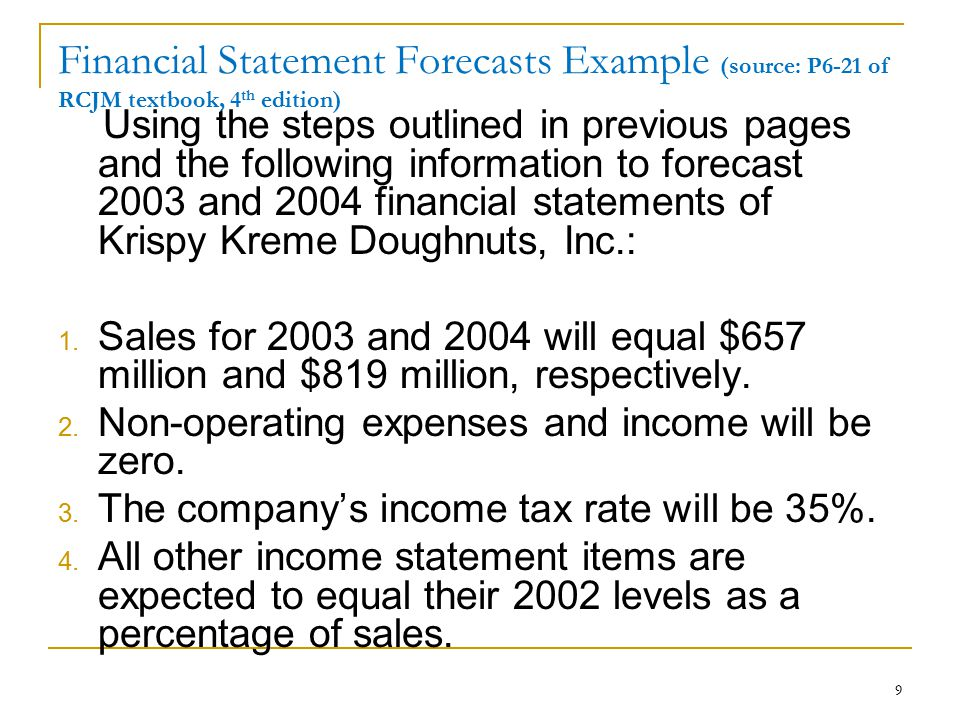 Financial Statement Forecasts Example (source: P6-21 of RCJM textbook, 4th edition)