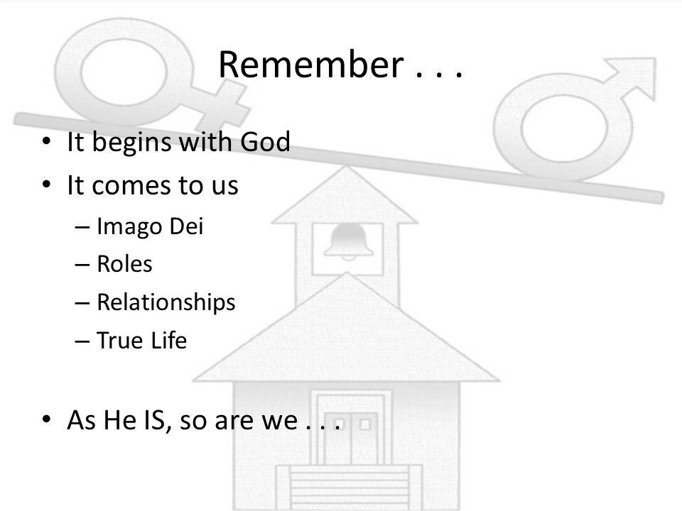 Remember . . . It begins with God It comes to us
