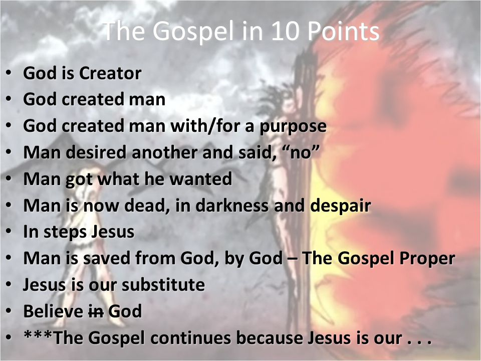 The Gospel in 10 Points God is Creator God created man