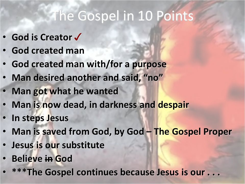 The Gospel in 10 Points God is Creator ✓ God created man