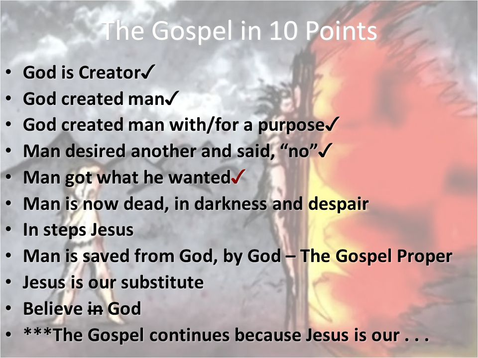 The Gospel in 10 Points God is Creator✓ God created man✓