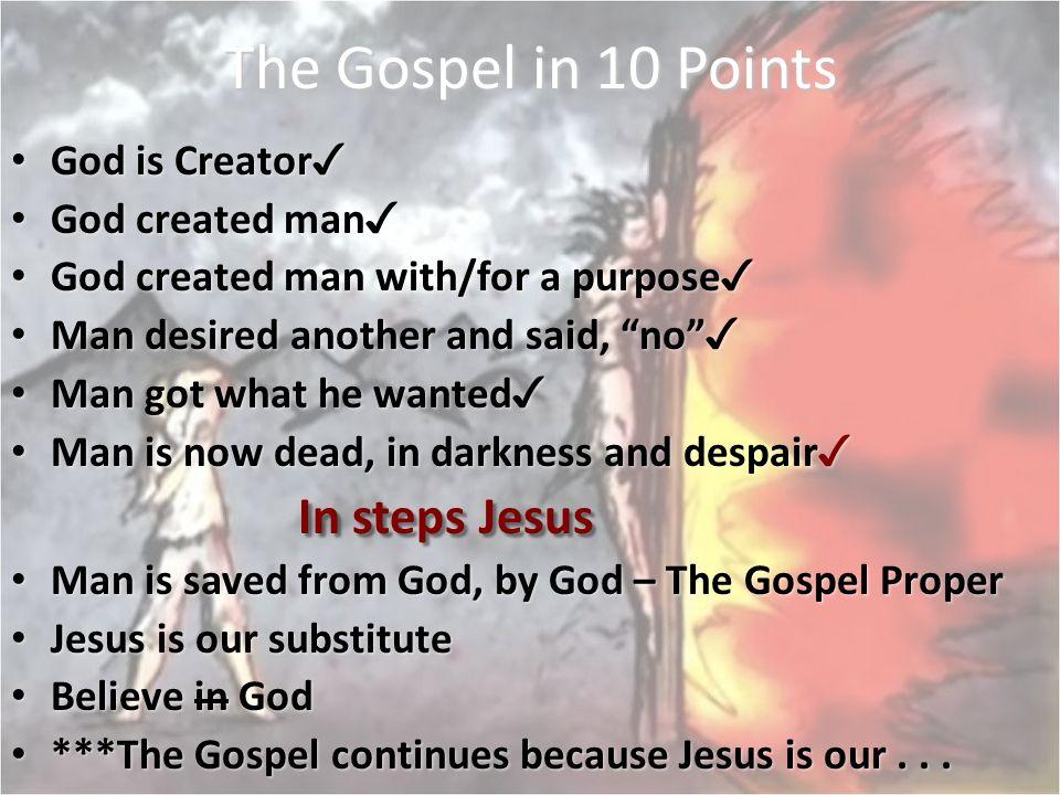 The Gospel in 10 Points In steps Jesus God is Creator✓