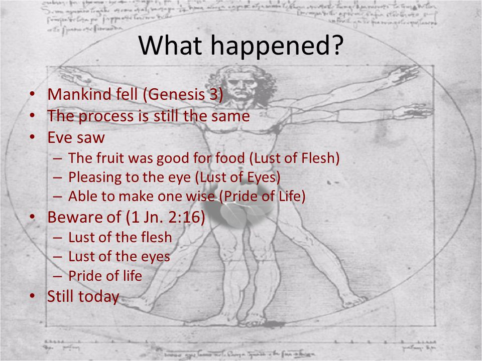What happened Mankind fell (Genesis 3) The process is still the same