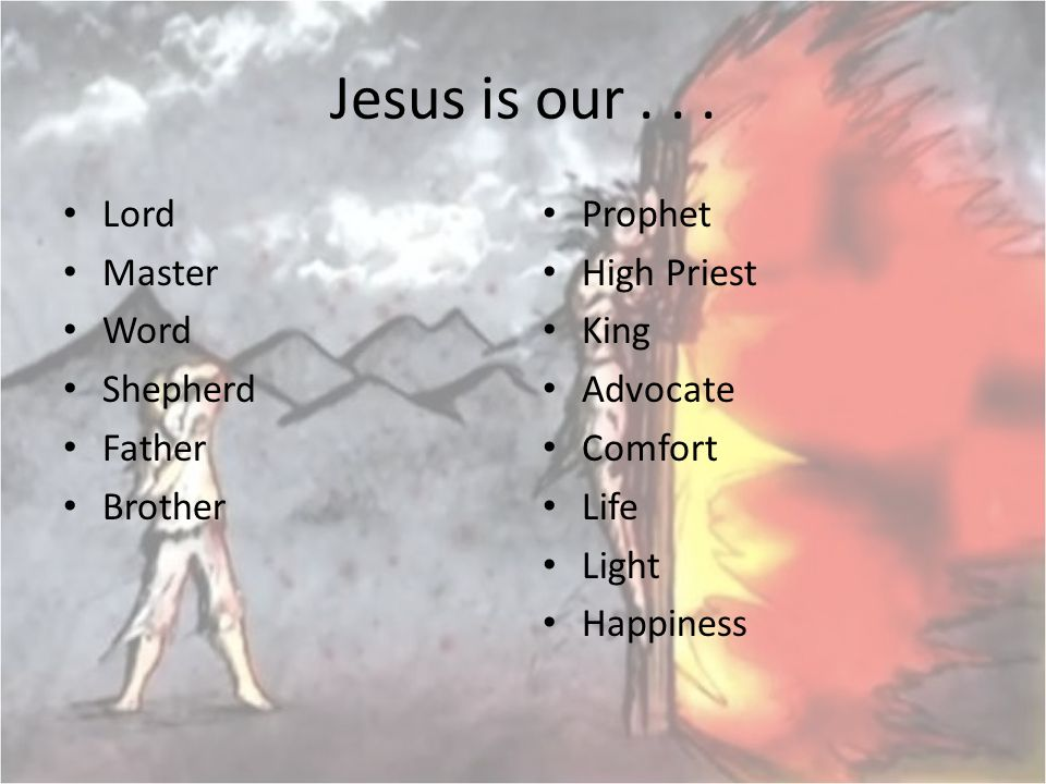 Jesus is our . . . Lord Master Word Shepherd Father Brother Prophet