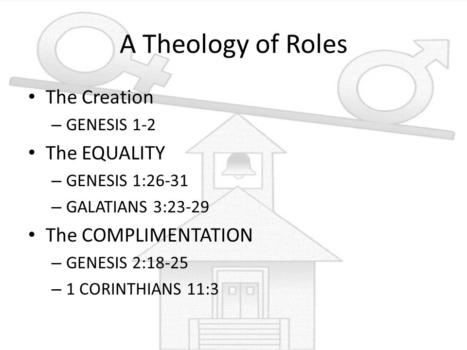 A Theology of Roles The Creation The EQUALITY The COMPLIMENTATION