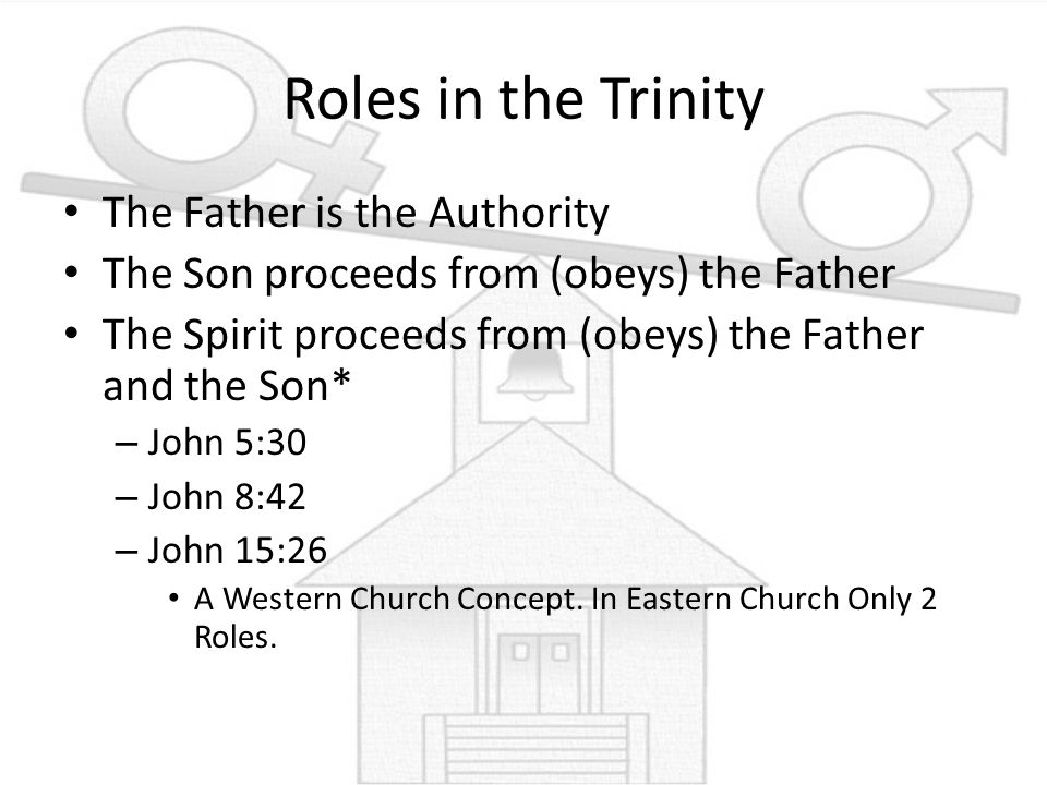 Roles in the Trinity The Father is the Authority