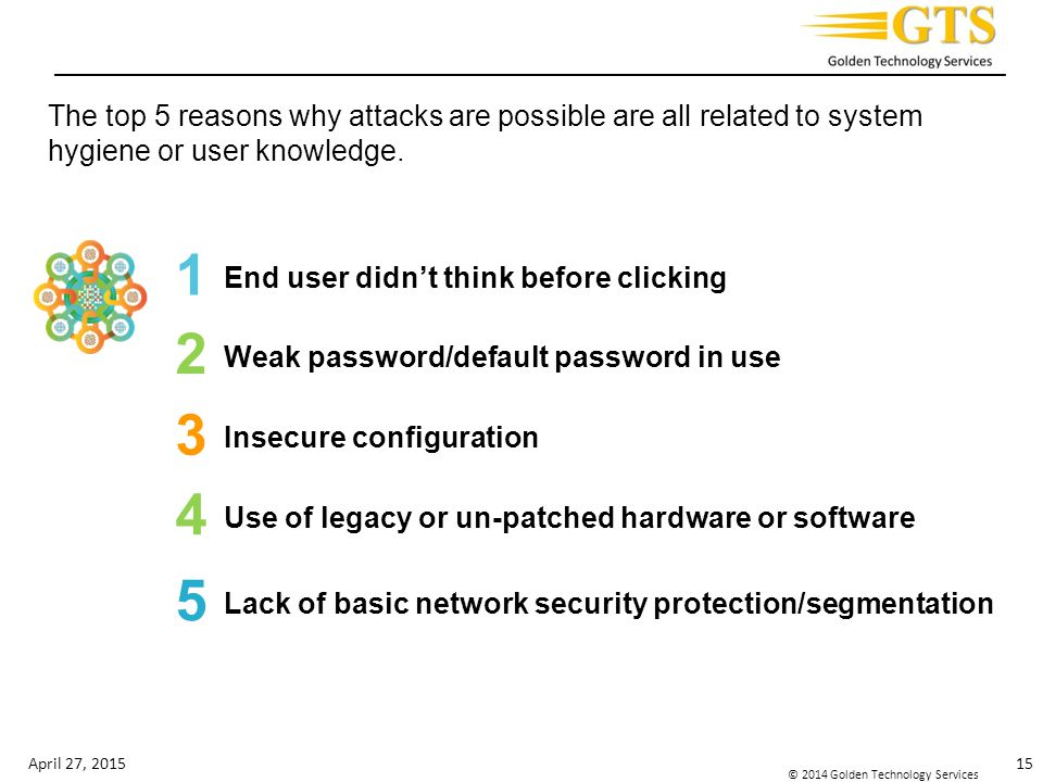The top 5 reasons why attacks are possible are all related to system hygiene or user knowledge.