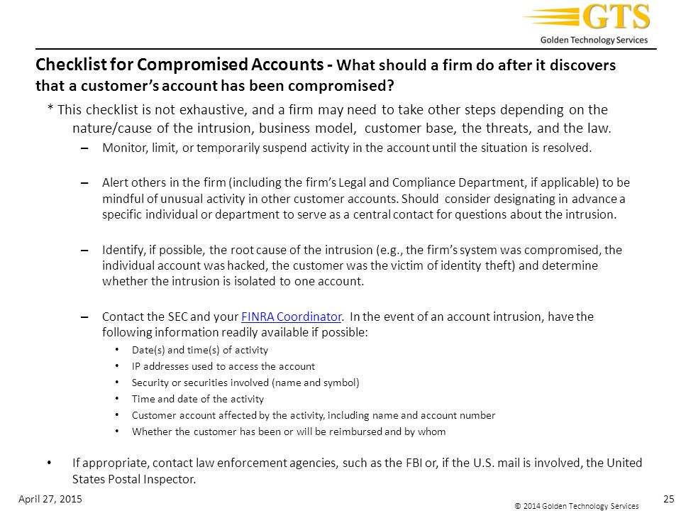 Checklist for Compromised Accounts - What should a firm do after it discovers that a customer's account has been compromised