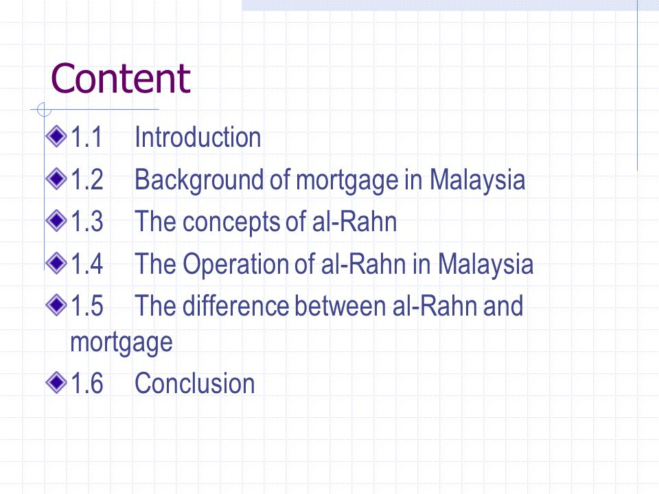 Content 1.1 Introduction 1.2 Background of mortgage in Malaysia